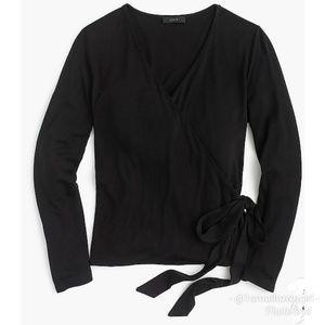 J. Crew wrap sweater v-neck waist tie black L NWT